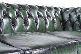 Chesterfield Sofa Original Leder | 2-Sitzer | Antik grün | 12 Jahre Garantie_