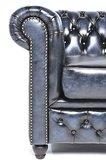 Chesterfield Sessel  Original Leder | Antik blau | 12 Jahre Garantie_