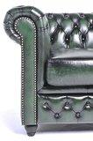 Chesterfield Sessel Original Leder   Antik grün   12 Jahre Garantie_