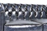 Chesterfield Sofa Original Leder   4-Sitzer   Antik blau   12 Jahre Garantie_