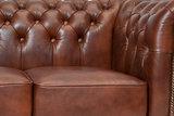 Chesterfield Sofa First Class Leder |2-Sitzer | Cloudy Braun Old | 12 Jahre Garantie_