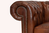 Chesterfield  Sofa First Class Leder |3- Sitzer| Cloudy Braun Old | 12 Jahre Garantie_