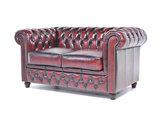 Chesterfield Sofa Original Leder    1 + 2 + 3 Sitzer   Antik Rot  12 Jahre Garantie_