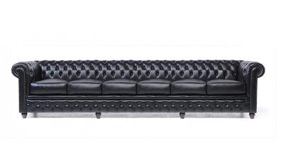 Chesterfield Sofa Original Leder | 6-Sitzer | Schwarz | 12 Jahre Garantie