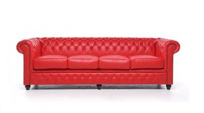 Chesterfield Sofa Original Leder | 4-Sitzer |Rot | 12 Jahre Garantie