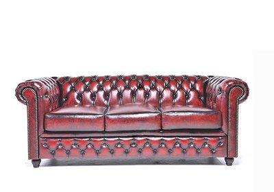Chesterfield Sofa Original Leder | 3-Sitzer | Antik rot | 12 Jahre Garantie
