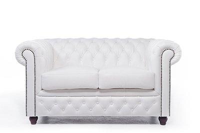 Chesterfield Sofa Original Leder  2-Sitzer   Weiß   12 Jahre Garantie