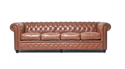 Chesterfield Sofa Vintage Leder | 4-Sitzer | Mokka | 12 Jahre Garantie