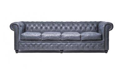 Chesterfield Sofa Vintage Leder | 4-Sitzer | Schwarz | 12 Jahre Garantie