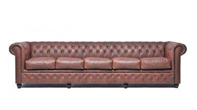 Chesterfield Sofa Vintage Leder   5-Sitzer    Braun   12 Jahre Garantie