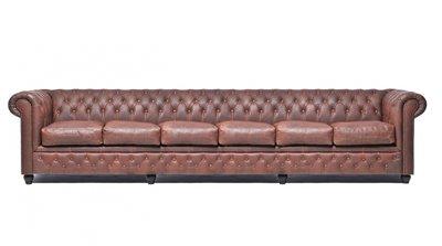 Chesterfield Sofa Vintage Leder   6-Sitzer  Braun   12 Jahre Garantie