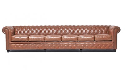 Chesterfield Sofa Vintage Leder   6-Sitzer   Mokka   12 Jahre Garantie