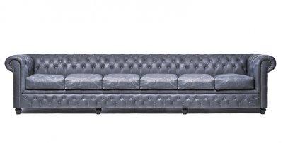 Chesterfield Sofa Vintage Leder   6- Sitzer   Schwarz   12 Jahre Garantie