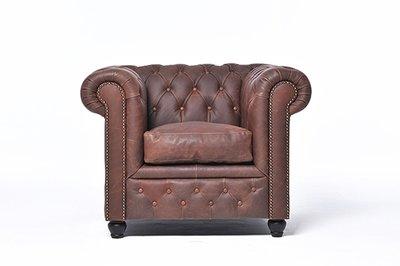 Chesterfield Sessel Vintage Leder    Braun   12 Jahre Garantie