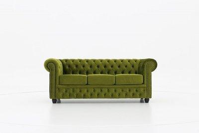 Chesterfield Sofa Original Samt | 3-Sitzer |  Grün | 12 Jahre Garantie