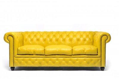 Chesterfield Sofa Original Leder | 3-Sitzer | Gelb | 12 Jahre Garantie