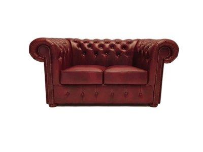 Chesterfield Sofa Class Leder |2- Sitzer |  Cloudy Rot | 5 Jahre Garantie