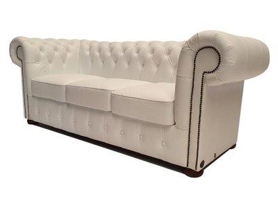 Chesterfield Sofa Class Leder |3-Sitzer | Cloudy Weiß | 5 Jahre Garantie