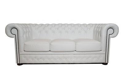 Chesterfield Sofa First Class Leder |3-Sitzer | Weiß  | 12 Jahre Garantie