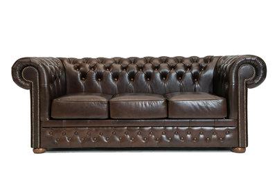 Chesterfield Sofa First Class Leder | 3-Sitzer | Cloudy Dark Braun| 12 Jahre Garantie
