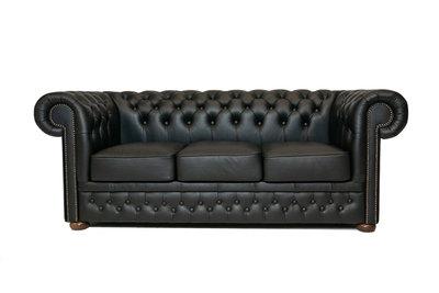 Chesterfield Sofa First Class Leder | 3- Sitzer | Shiny Schwarz | 12 Jahre Garantie