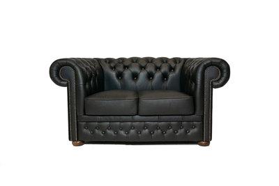 Chesterfield Sofa First Class Leder | 2-Sitzer | Shiny Schwarz | 12 Jahre Garantie