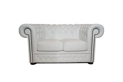 Chesterfield Sofa First Class Leder | 2-Sitzer | Weiß  | 12 Jahre Garantie