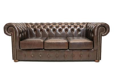 Chesterfield Sofa Class Leder | 3-Sitzer |  Cloudy Braun Dark | 12 Jahre Garantie