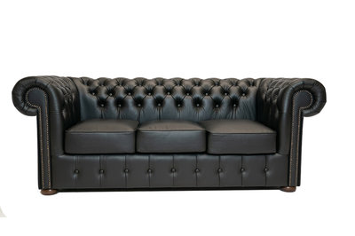 Chesterfield Sofa Class Leder | 3- Sitzer |  Shiny Schwarz | 12 Jahre Garantie