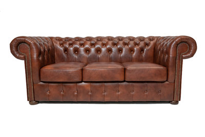 Chesterfield Sofa Class Leder | 3-Sitzer |  Cloudy Braun Old | 12 Jahre Garantie