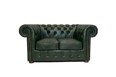 Chesterfield Sofa Class Leder | 2-Sitzer | Cloudy Grün | 12 Jahre Garantie