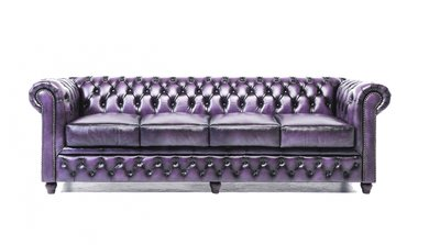 Chesterfield Sofa Original Leder | 4-Sitzer | Antik violett | 12 Jahre Garantie