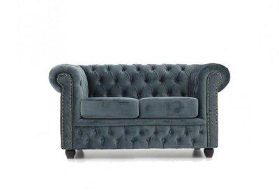 Chesterfield Sofa Original Samt| 2-Sitzer | Grau | 12 Jahre Garantie