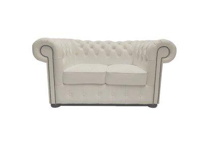 Chesterfield Sofa Class Leder |2-Sitzer | Weiß | 12 Jahre Garantie