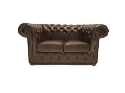 Chesterfield Sofa Class Leder |2-Sitzer | Cloudy Braun Dark | 12 Jahre Garantie