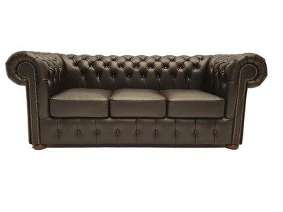 Chesterfield Sofa Class Leder |3- Sitzer |  Shiny Schwarz | 12 Jahre Garantie