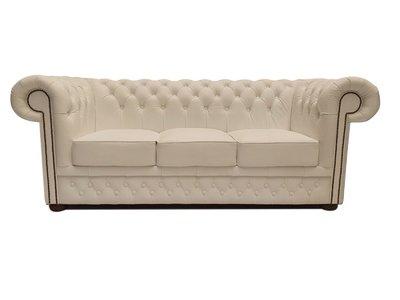 Chesterfield Sofa First Class Leder |3-Sitzer | Cloudy Weiß | 12 Jahre Garantie