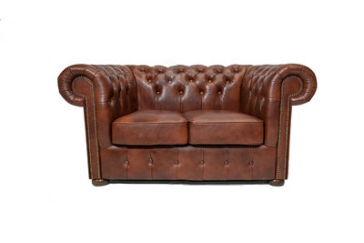Chesterfield Sofa Class Leder |2-Sitzer |  Cloudy Braun Old | 12 Jahre Garantie