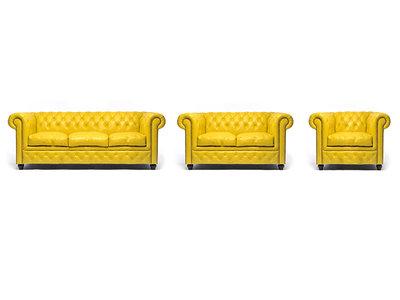 Chesterfield Sofa Original Leder |  1 + 2 + 3 Sitzer | Gelb |12 Jahre Garantie