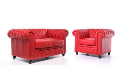 Chesterfield Sofa Original Leder |  1 + 2  Sitzer | Rot |12 Jahre Garantie