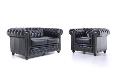 Chesterfield Sofa Original Leder |  1 + 2  Sitzer | Schwarz |12 Jahre Garantie