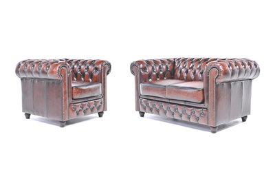 Chesterfield Sofa Original Leder |  1 + 2  Sitzer | Antik Braun |12 Jahre Garantie