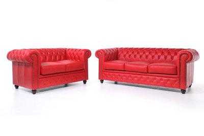 Chesterfield Sofa Original Leder |  2 + 3  Sitzer | Rot|12 Jahre Garantie