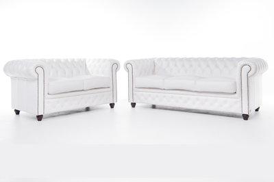 Chesterfield Sofa Original Leder |  2 + 3  Sitzer | Weiß|12 Jahre Garantie