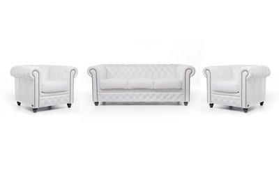 Chesterfield Sofa Original Leder |  1+ 1 + 3  Sitzer | Weiß |12 Jahre Garantie