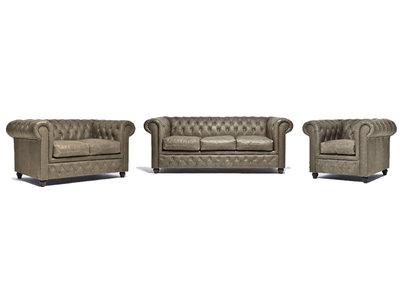 Chesterfield Sofa Vintage Leder Alabama C1057 | 1 + 2 + 3 Sitzer | 12 Jahre Garantie