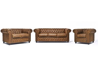 Chesterfield Sofa Vintage Leder Alabama C1059 | 1 + 2 + 3 Sitzer | 12 Jahre Garantie