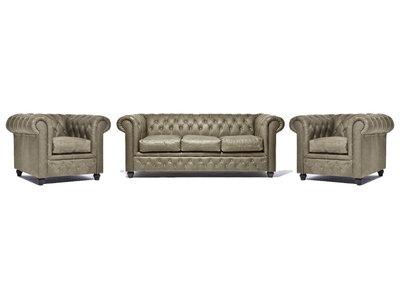 Chesterfield Sofa Vintage Leder Alabama C1057 | 1 + 1 + 3 Sitzer | 12 Jahre Garantie