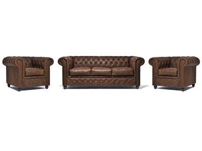 Chesterfield Sofa Vintage Leder C0869 | 1 + 1 + 3 Sitzer | 12 Jahre Garantie