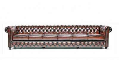 Chesterfield Sofa Original Leder | 6- Sitzer| Antik braun | 12 Jahre Garantie